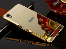 Luxury Aluminum Metal Bumper Mirror Back Case Cover For Sony Huawei Samsung S002
