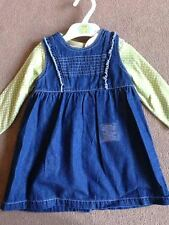 BNWT M&S Green Spotty Long Sleeved Top & Denim Pinafore Dress Set 12-18 Months