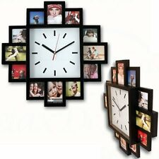 12 PHOTO FAMILY MULTI PICTURES APERTURE FRAME & TIME WALL CLOCK BLACK HANGING