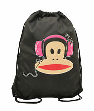 PAUL FRANK - JULIUS MONKEY HEADPHONES NYLON DRAWSTRING GYM/BOOT BAG - BLACK