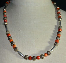 VTG Red Apple Coral Silver Tone Embossed Rose Bead Beaded Choker Necklace