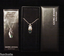 GEORG JENSEN sterling DENMARK green agate PENDANT OF THE YEAR,2008 heritage MIB