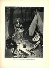 1904 Antique Print ~ Anglers Camp in the Forest ~ Hunting Forest Fishing