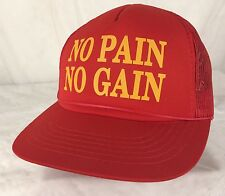 Vintage No Pain No Gain Snapback Trucker Hat Red Weightlifting Mesh Workout