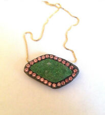 Gorgeous Green Uvarovite druzy and pink Austrian crystal Necklace