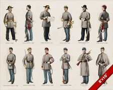 US CIVIL WAR CONFEDERATE ARMY SOLDIERS IN UNIFORM PAINTING ART REAL CANVAS PRINT