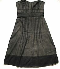 Women's 4 ODILLE Strapless Bustier Sheer Black Pleated A Line Dress EUC