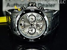 Invicta Men 48mm Scuba Pro Diver Swiss Chronograph Silver Dial Black IP SS Watch