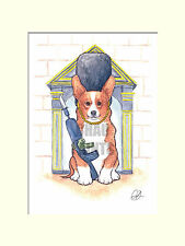 "Chau Paints ""Queen's Guard Dog"" Corgi A4 30x40cm Mounted Limited Edition Print"