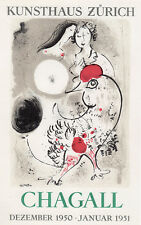 Antique MARC CHAGALL Kunsthaus, Zurich Exhibition Poster LOVE Framed SIGNED COA