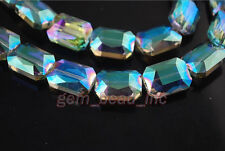Bulk 10ps Green Colorized Glass Crystal Rectangle Beads 18x12mm Spacer Findings