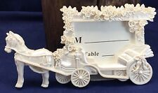 4 White Horse Drawn Carriage Wedding Place Card Holders Rose Garland NEW in Box
