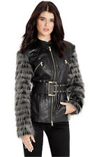 NWT Marciano GUESS Zoe Faux Leather Fur sleeve Jacket Coat Black M 6 7
