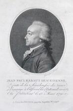 Gravure -  Physionotrace - XVIIIème -  J.P Rabaut de St Etienne - Révolution