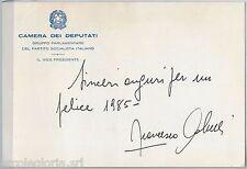 55560 - CAMERA DEI DEPUTATI: Cartoncino ufficiale firmato FRANCESCO COLUCCI 1985