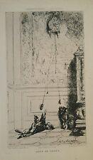 Champfleury Jeux Chats Original Etching 1870 Cat Playing Clock Lambert Kitty Art