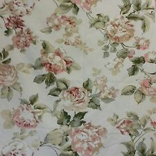 """Richloom Pink Rose Floral Natural Home Decor Fabric Shabby Cottage Chic 1 YD 56"""""""