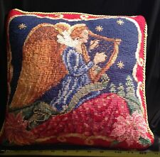 Vintage Needlepoint Anel with Harp Christmas Pillow ~Xmas Angel & Instrument