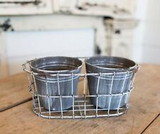 Double Galvanized Pots in Wire holder~Planters~Farmhouse Style
