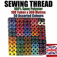 THREAD BOX POLYESTER SEWING MACHINE HAND STITCHING COLOR 100 REELS X 300 MTR