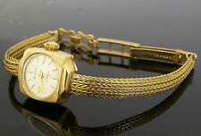 "Ladies Solid 9ct Gold Accurist 21 Jewels Watch W/ Foxtail Strap 6- 6.5"" Long"