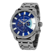 Diesel Stronghold Chronograph Blue Dial Grey Ion-plated Mens Watch DZ4358