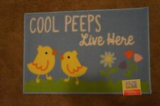 """NEW Printed Accent Rug """"Cool Peeps Live Here"""" 20"""" x 30"""" Easter Springtime Season"""