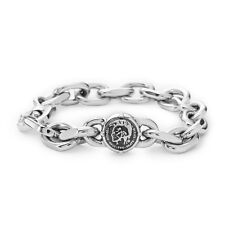 "DIESEL Biker Griffes DX0747040 Stainless Steel 9"" Bracelet, Silver High Polished"