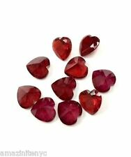 10 Heart Shaped Red Cubic Zirconia Loose Stones 8 MM Faux Red Ruby