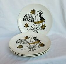 Good Morning Dinner Plates by Royal Set of 4 Rooster White Brown Gold 50's MCM