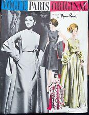 Vtg VOGUE Paris Original NINA RICCI DRESS & Stole Sewing Pattern 1157 COMPLETE!