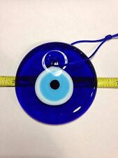 """LARGE TURKISH GLASS EVIL EYE HANGING AMULET APPROX. 4"""" D (100 MM) FOR PROTECTION"""