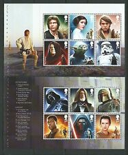 GREAT BRITAIN 2015 STAR WARS SET OF 12 IN TWO PANES UNMOUNTED MINT