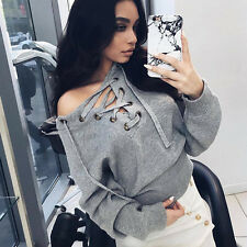 Womens Casual Tie Lace Up Sweater Tops V Neck Knitted Stretched Jumper Pullover