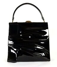 VALENTINO $2,295 Black Patent Leather Ruched Bow Frame Satchel Bag