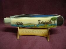 CASE KNIFE - LIMITED EDITION COLOR SCRIMSHAW by HARBOUR of TEXAS BLUEBONNETS