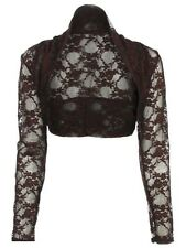 NEW Womens Lace Long Sleeve Cropped Plain Bolero Shrug Jacket Cardigan Top 8-26