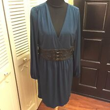 Laundry Blue Polyester Long Sleeve Dress w/Faux Leather Waistband - Size 12