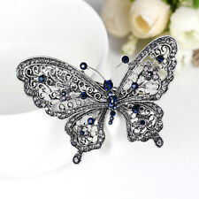 New Crystal Rhinestone Butterfly Wedding Bridal Hair Comb Hairpin Clip Barrette