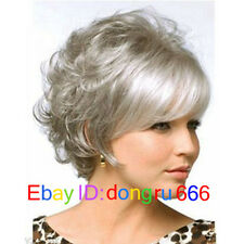 New lady short silver gray mixed curly cosplay full wigs + Free wig cap
