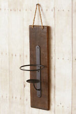 Primitive new distressed wood hanging wall candle jar sconce / nice