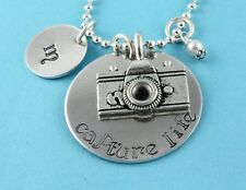 Capture Life Camera Initial and Birthstone Necklace Handstamped Personalized