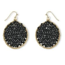 PalmBeach Jewelry Black Crystal Beaded Drop Earrings in Yellow Gold Tone