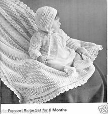 Vintage Knitting patterns-how to make popcorn pattern baby christening shawl,set