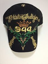 Rare Christian Audigier 944 Embroidered Crown Hat Black Gold Los Angeles Snapbac