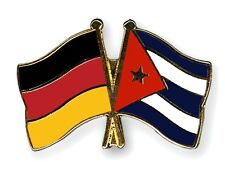 Germany & Cuba Friendship Flags Gold Plated Enamel Lapel Pin Badge
