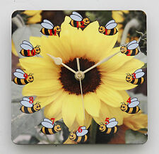 Square Wall Clock – Bees around a Sunflower - For Gardeners - Size 19cm by 19cm