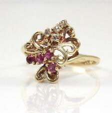 10K Yellow Gold Natural Diamond Ruby Cluster Scroll Ring Size 6.5