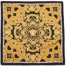 NWT VERSACE Foulard Large Square 100% Silk Scarf  Italy Gold Black