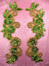 0183 Appliques Mirror Pair Lime Green Sequin Gold Beaded 10""